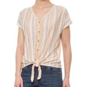 RACHEL ZOE  Linen Neutral Stripe Tie Front Top